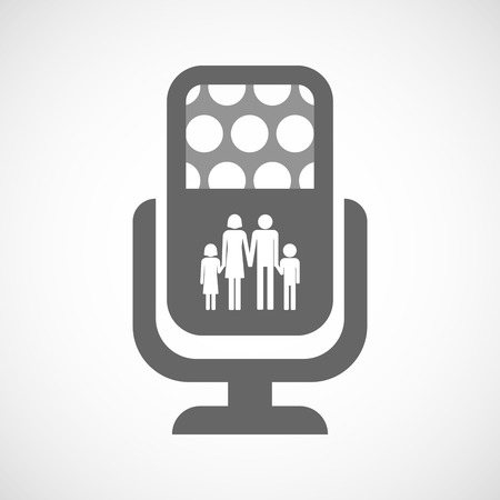 family isolated: Illustration of an isolated microphone icon with a conventional family pictogram