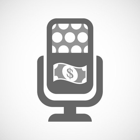 bank records: Illustration of an isolated microphone icon with a dollar bank note