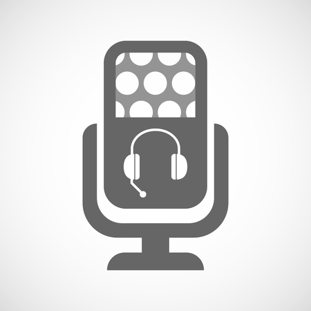 hands free: Illustration of an isolated microphone icon with  a hands free phone device