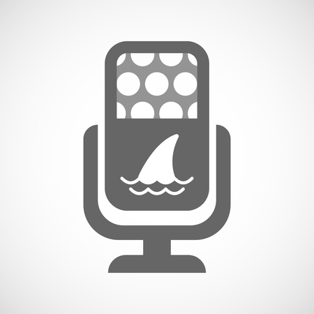 fin: Illustration of an isolated microphone icon with a shark fin