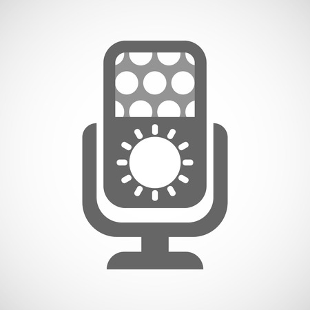 radio beams: Illustration of an isolated microphone icon with a sun Illustration