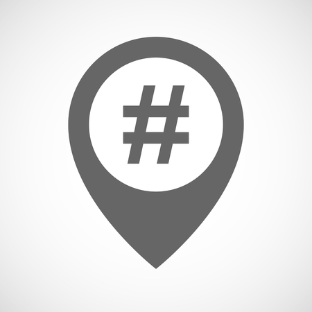 hash: Illustration of an isolated map marker with a hash tag