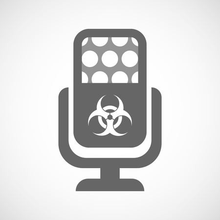 biological hazards: Illustration of an isolated microphone icon with a biohazard sign