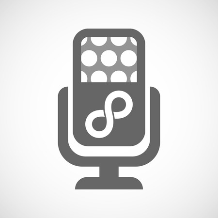 infinite: Illustration of an isolated microphone icon with an infinite sign Illustration