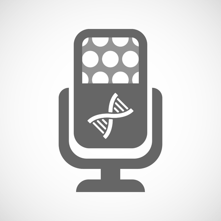 transgenic: Illustration of an isolated microphone icon with a DNA sign