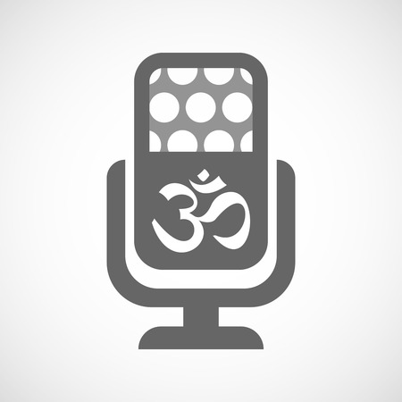 om sign: Illustration of an isolated microphone icon with an om sign