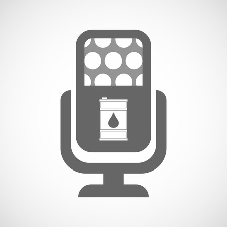 Illustration of an isolated microphone icon with a barrel of oil Illustration