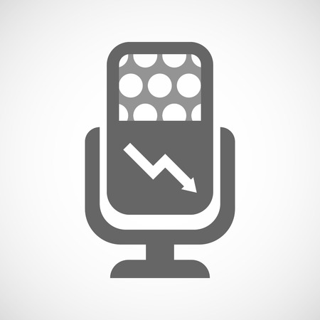 descending: Illustration of an isolated microphone icon with a descending graph