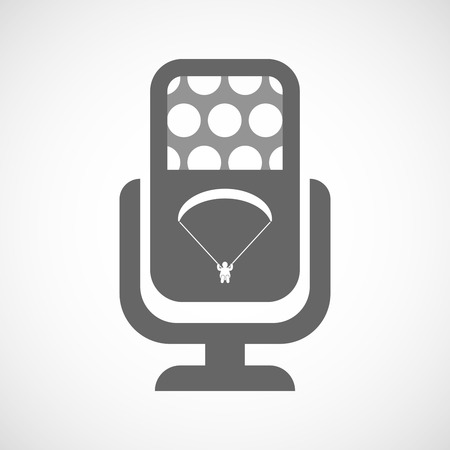 paragliding: Illustration of an isolated microphone icon with a paraglider Illustration