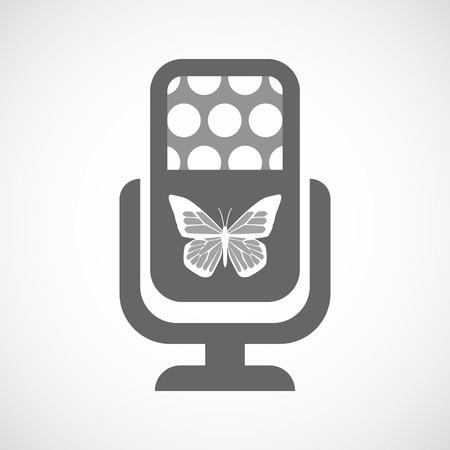 butterfly isolated: Illustration of an isolated microphone icon with a butterfly