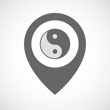 karma design: Illustration of an isolated map marker with a ying yang