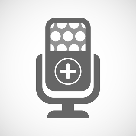 subtract: Illustration of an isolated microphone icon with a sum sign Illustration