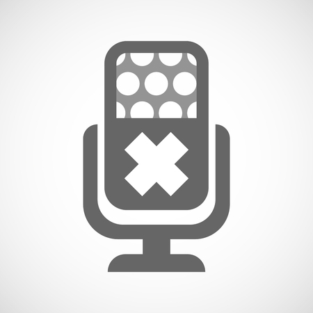 alerting: Illustration of an isolated microphone icon with an irritating substance sign
