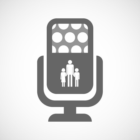 single parent: Illustration of an isolated microphone icon with a male single parent family pictogram Illustration