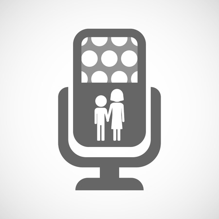 orphan: Illustration of an isolated microphone icon with a childhood pictogram