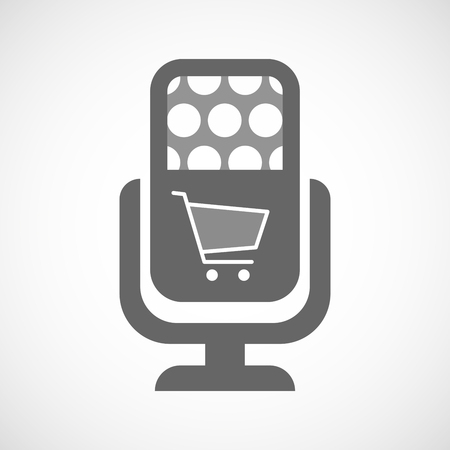 record shop: Illustration of an isolated microphone icon with a shopping cart