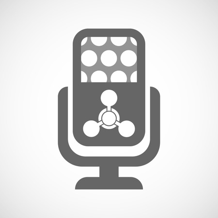 chemical weapon: Illustration of an isolated microphone icon with a chemical weapon sign