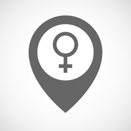 sex positions: Illustration of an isolated map marker with a female sign Illustration