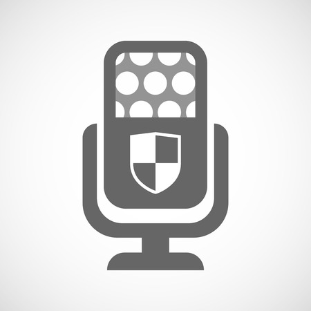 safe and sound: Illustration of an isolated microphone icon with a shield Illustration