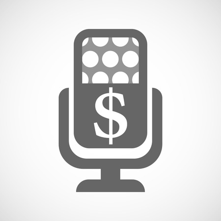 american media: Illustration of an isolated microphone icon with a dollar sign