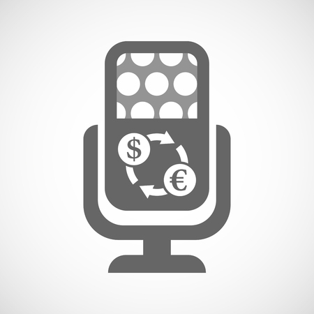 bank records: Illustration of an isolated microphone icon with a dollar euro exchange sign Illustration