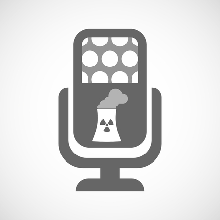 nuclear power station: Illustration of an isolated microphone icon with a nuclear power station