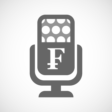 bank records: Illustration of an isolated microphone icon with a swiss franc sign