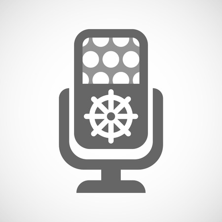 dharma: Illustration of an isolated microphone icon with a dharma chakra sign Illustration