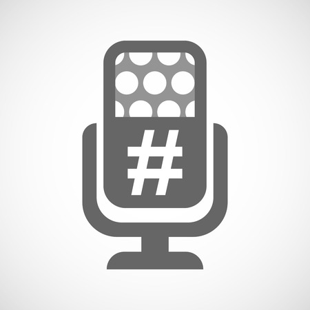 hash: Illustration of an isolated microphone icon with a hash tag