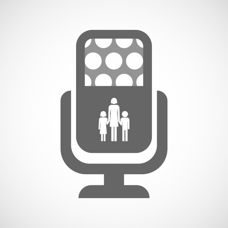 single parent: Illustration of an isolated microphone icon with a female single parent family pictogram