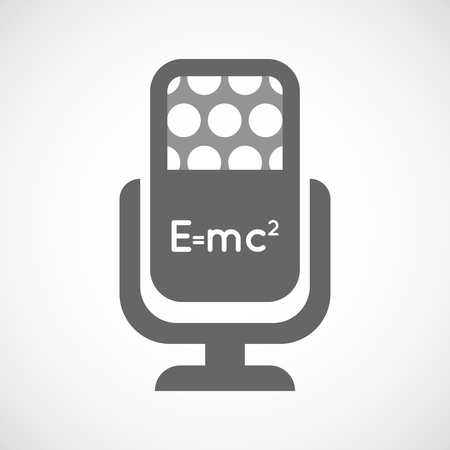 Illustration of an isolated microphone icon with the Theory of Relativity formula