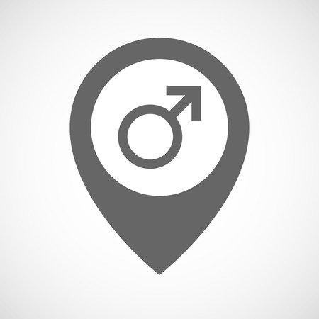sex positions: Illustration of an isolated map marker with a male sign