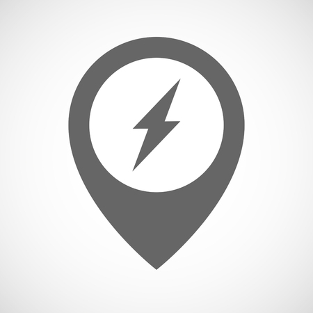 flash point: Illustration of an isolated map marker with a lightning Illustration
