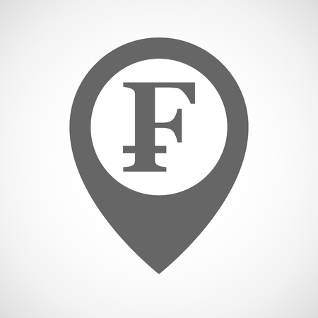 financial position: Illustration of an isolated map marker with a swiss franc sign