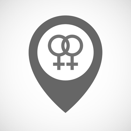 sex positions: Illustration of an isolated map marker with a lesbian sign