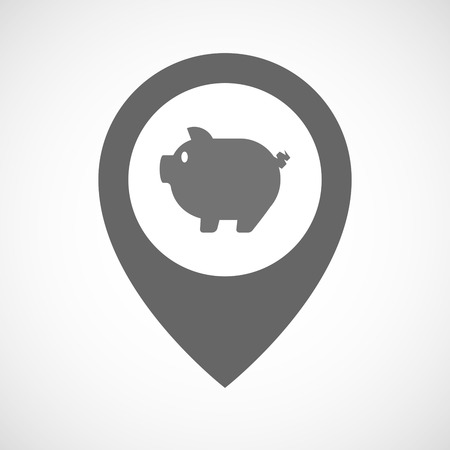 bacon art: Illustration of an isolated map marker with a pig Illustration