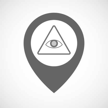 all seeing eye: Illustration of an isolated map marker with an all seeing eye Illustration