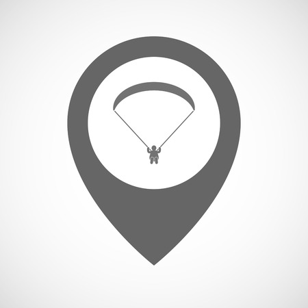 glide: Illustration of an isolated map marker with a paraglider Illustration