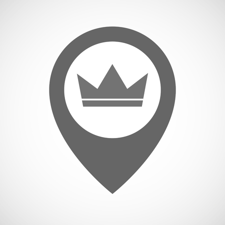 Illustration of an isolated map marker with a crown