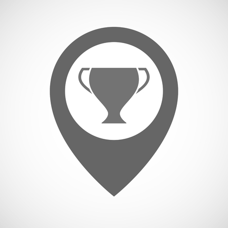 winning location: Illustration of an isolated map marker with a cup