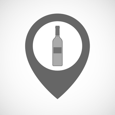map wine: Illustration of an isolated map marker with a bottle of wine