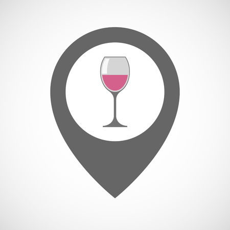 map wine: Illustration of an isolated map marker with a cup of wine