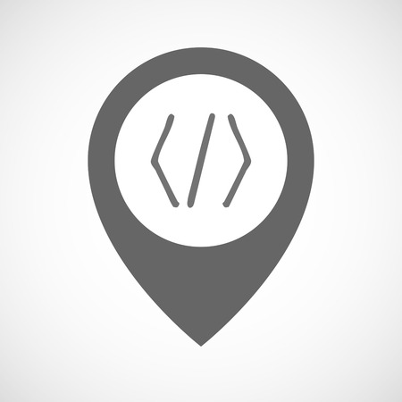 php: Illustration of an isolated map marker with a code sign