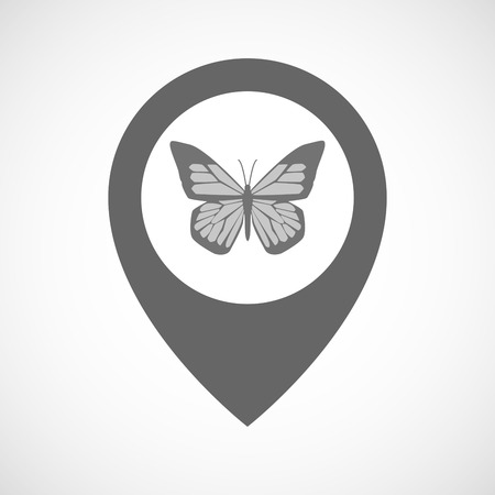 butterfly isolated: Illustration of an isolated map marker with a butterfly Illustration