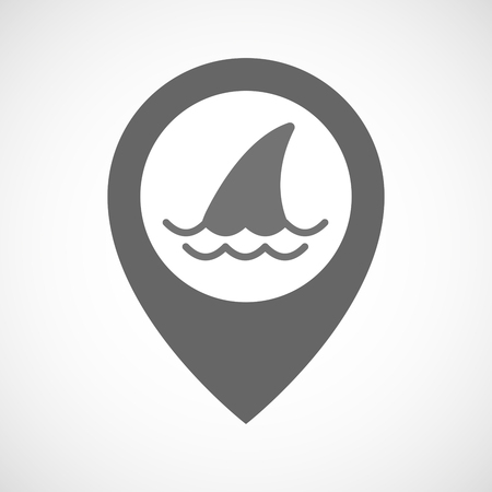 fin: Illustration of an isolated map marker with a shark fin