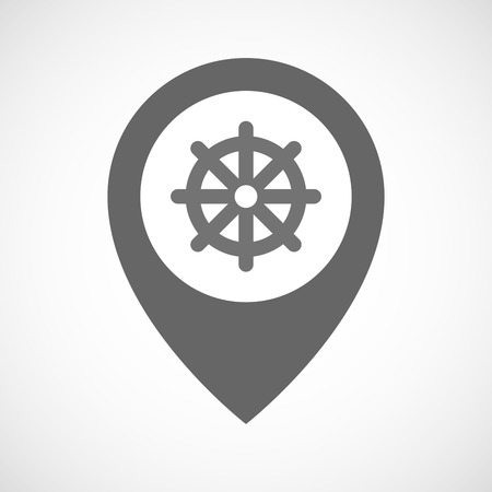 Illustration of an isolated map marker with a dharma chakra sign