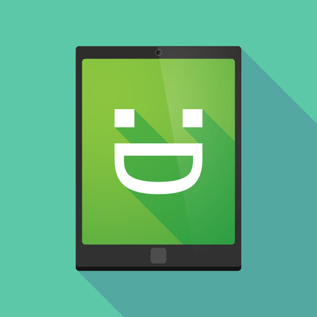 display type: Illustration of a long shadow tablet pc icon with a laughing text face