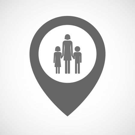 single parent: Illustration of an isolated map marker with a female single parent family pictogram