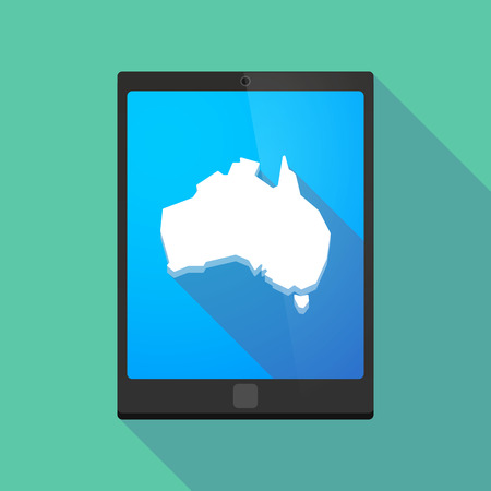 australia map: Illustration of a long shadow tablet pc icon with  a map of Australia
