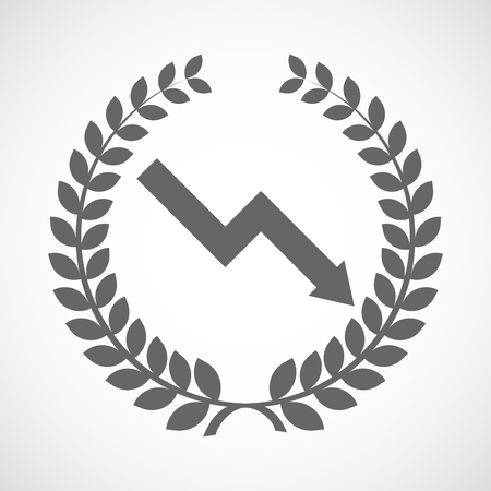 descending: Illustration of an isolated laurel wreath icon with a descending graph Illustration
